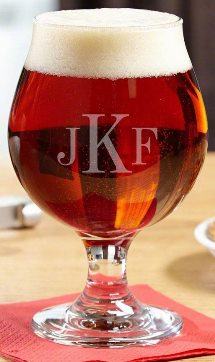 Classic Monogrammed Snifter Beer Glass (Customizable Product)
