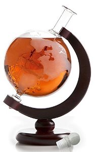 Etched World Globe Decanter with Antique Ship