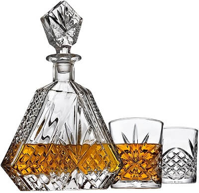 Whiskey Decanter Set with 2 Old Fashioned Whisky Glasses