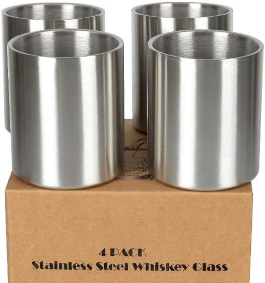 Whiskey Stainless Steel Lowball Glass